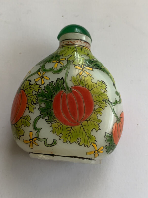 Vintage Glass Snuff Bottle Green Pumpkin