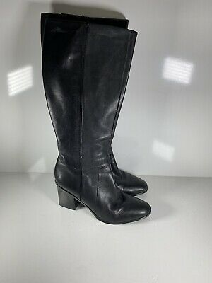 Nine West Womens Black Leather Heel Boots Size 9M