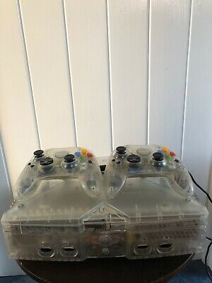 Original XBOX Console CRYSTAL (Tested) Microsoft Xbox Console PAL 2 controllers