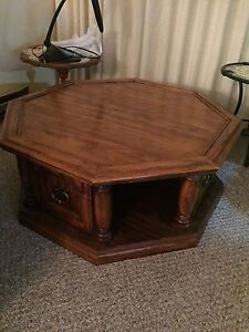 Oak finish coffee and end tables