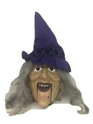 "Vtg Life Size Animated Creepy Witch Head/ Light Up Eyes Sings ""Evil Ways"" Gemmy"