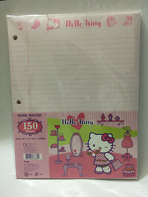 Sanrio Hello Kitty 3 Hole Wide Ruled Binder Paper 150 Sheets Appr 11 X 8.5 Ea.