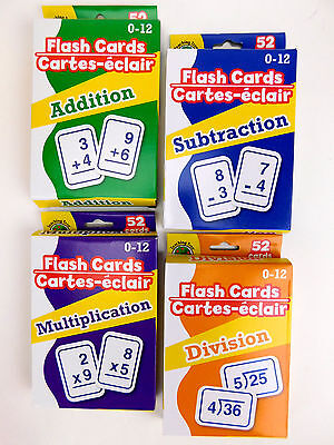 NEW Math Flash Cards Addition Subtraction Multiplication Division Set of ALL 4