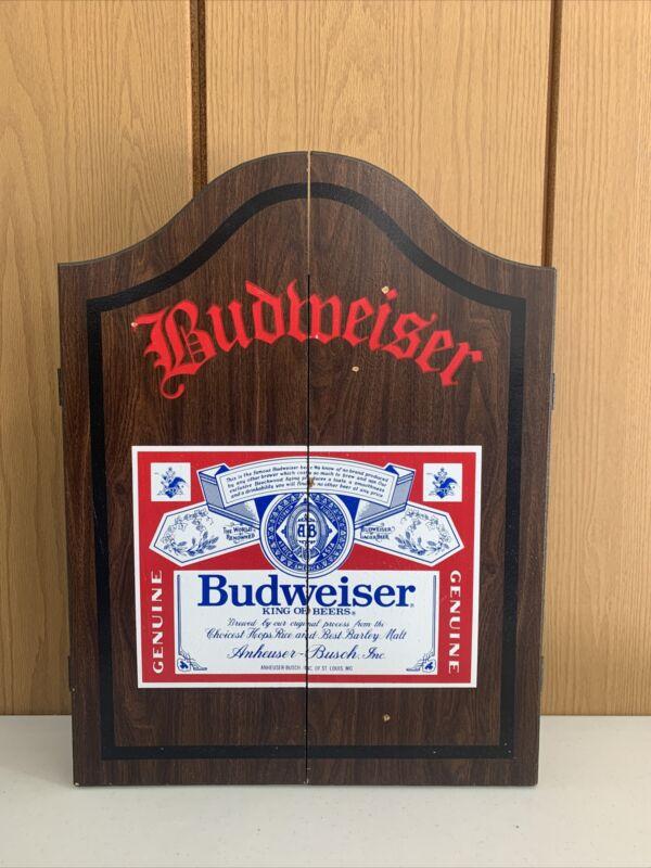 Vintage Wooden Budweiser Dart Board Cabinet