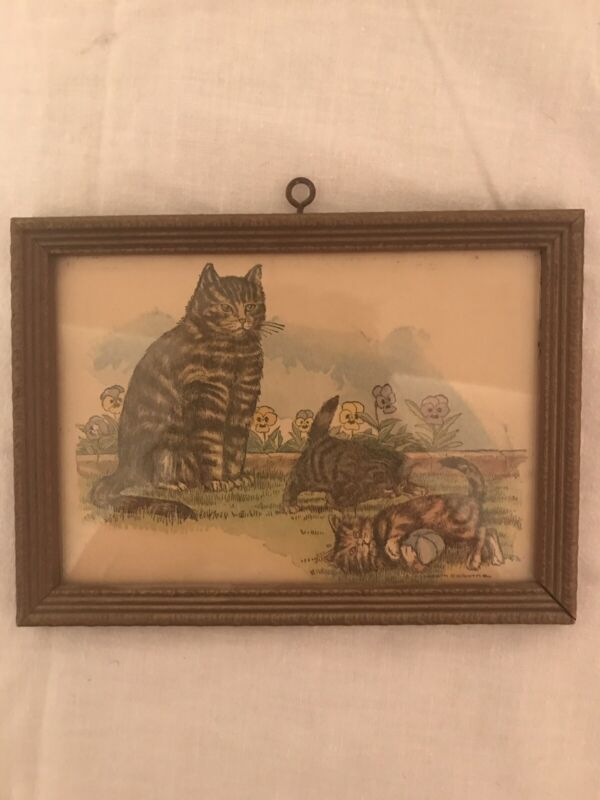 Vntg Framed Color Print of Mother Cat & 2 Playful Kittens by Elizabeth Colburn
