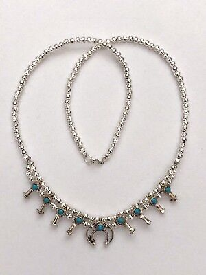 Sterling Silver and Nickel Silver Navajo Handmade Mini Squash Blossom Necklace