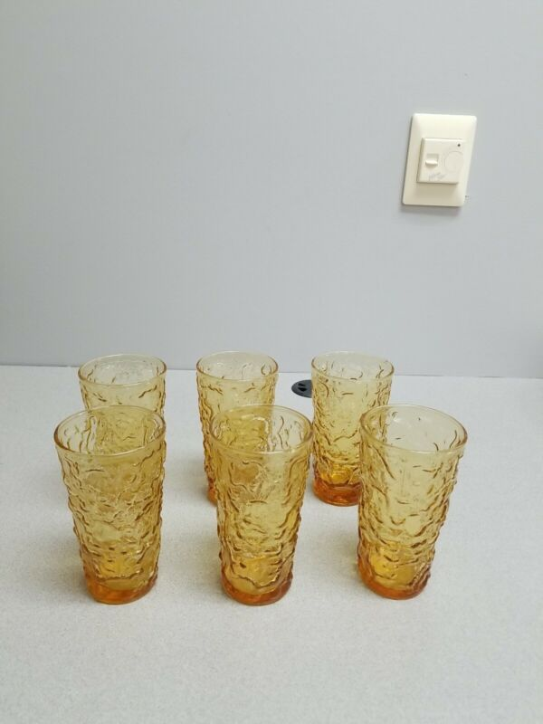 6 ANCHOR HOCKING AMBER LIDO MILANO TUMBLERS
