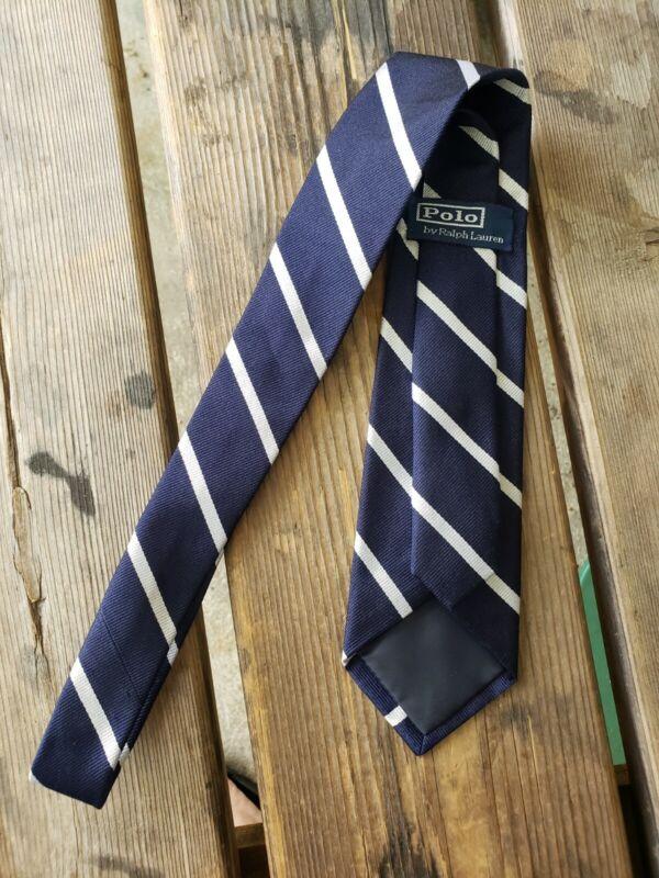 Vintage POLO RALPH LAUREN boy kid  YOUTH NAVY BLUE WHITE stripe SILK Neck Tie