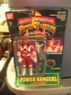 (1994 RED POWER RANGER ORIGINAL  BANDO  STILL IN PACKAGE)