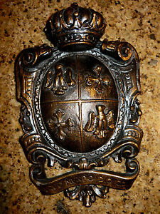 Shield-Wall-Plaque-Eagle-Cross-Crown-Coat-of-Arms-Medieval-Old-World-Hand-Made