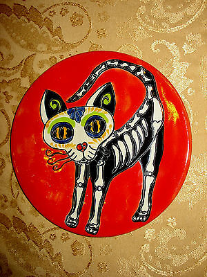 Day of the Dead Cat Talavera Plate Dog Mexican Folk Art Artisan Design