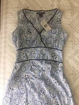 Anthropologie New Polo Jeans Company Ralph Lauren Dress Size 2 Blue White Cotton