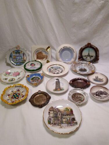 Ashtrays lot of 17 vintage 1950-1960s souvenir travel ashtrays Europe US Canada