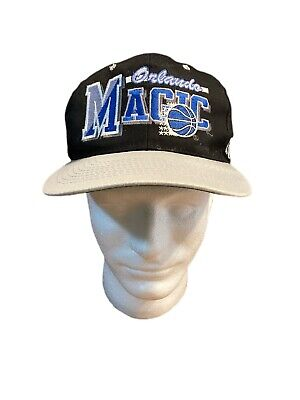 VTG Orlando Magic Snapback Hat Cap Big Block Letters Black 90s Hardaway Shaq