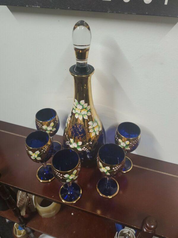 Rare Antique Bohemian MOSER cobalt blue Crystal Set 7pc Wine Goblets & Decanter