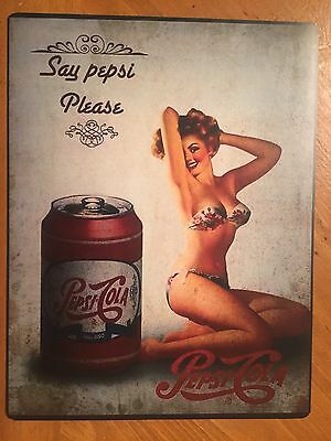 Tin Sign Vintage Pepsi Cola Say Pepsi Please With Pin Up Girl