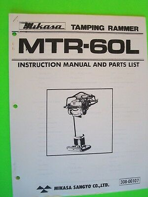 Mikasa Tamping Rammer Mtr-60l Instruction Manual And Parts List  308-00107
