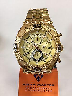Men Aqua Master Jojo Jojino Joe Rodeo Yellow Metal Band 48Mm Diamond Watch W 351