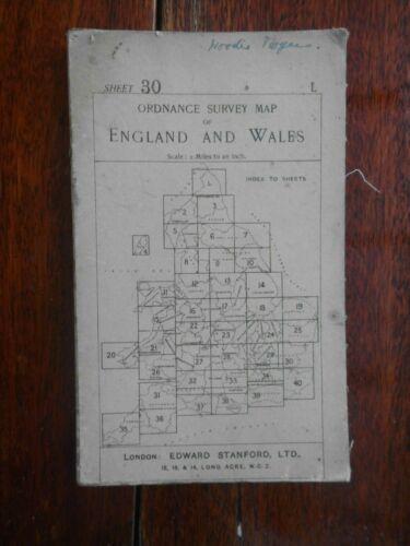 ORDNANCE SURVEY SHEET 30 EDWARD STANFORD MAP ESSEX COLCHESTER SOUTHEND 1915