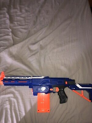 Nerf Retaliator (blue) With Barrel, Stock, And 12 Need Dart Magazine