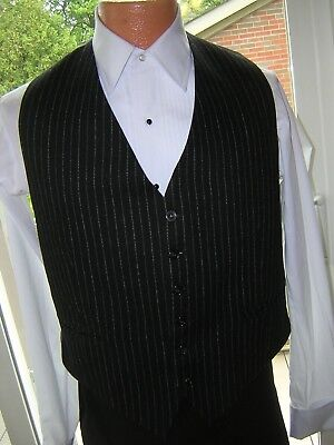 #638 MENS VINTAGE NAVY WOOL PINSTRIPED GANGSTER GAMBLER STYLE VEST WAISTCOAT Sm - Gangster Vest