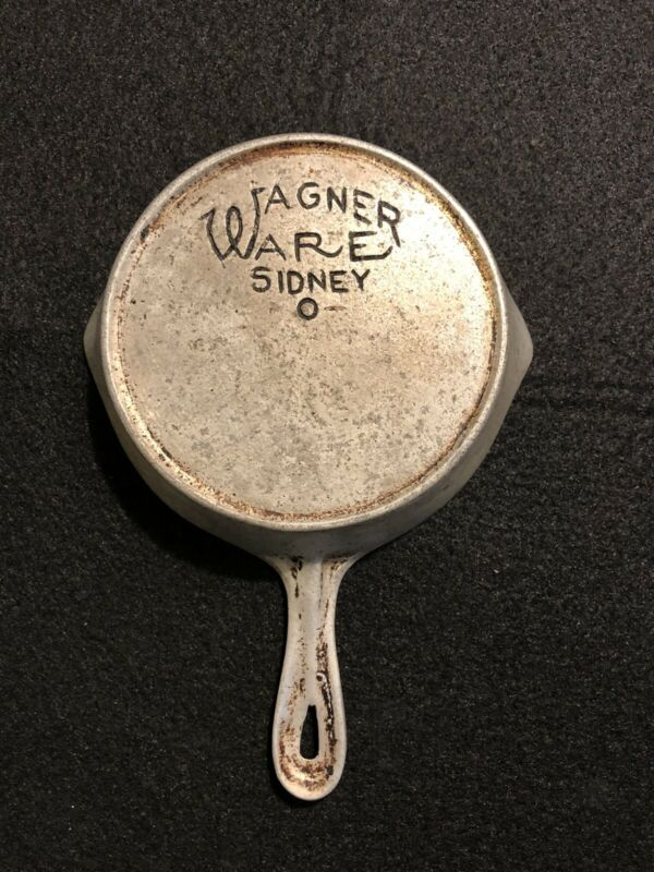 Wagner Ware Sidney -0- Cast Iron Nickel Plated Child Toy Skillet!!