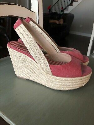 Splendid Womens Wedges Size9Red Peep Toe Slingback High Heel Womens Slingback Heels