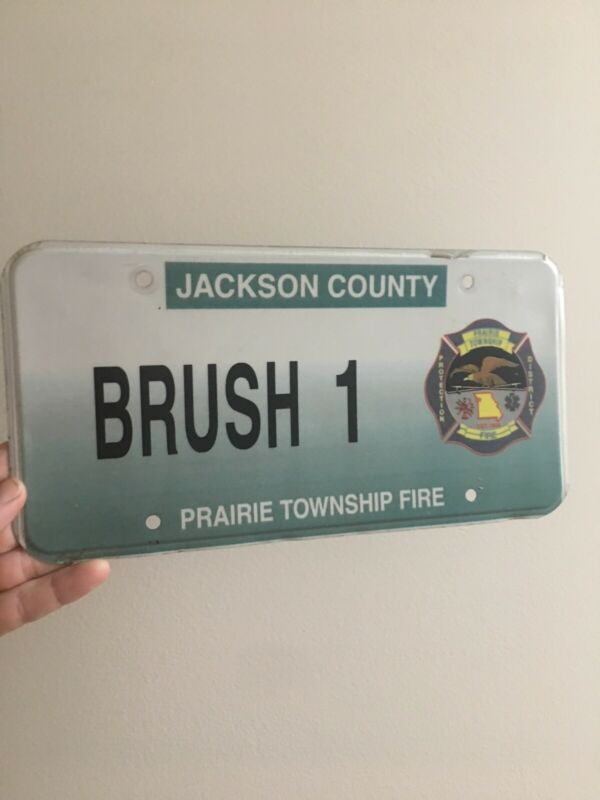 Missouri License Plate Rare #1 Brush Breaker Fire Dept Prairie Township Jackson