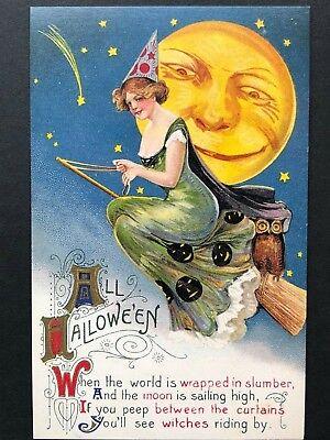 repro vintage postcard HALLOWEEN WITCH MOON Schmucker Pleiades Press p115 NOS](Halloween Vintage Postcard)