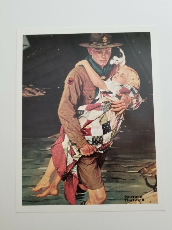 """Rare Norman Rockwell """"A Scout is Helpful"""" Scouting Poster Art Print 11x14"""