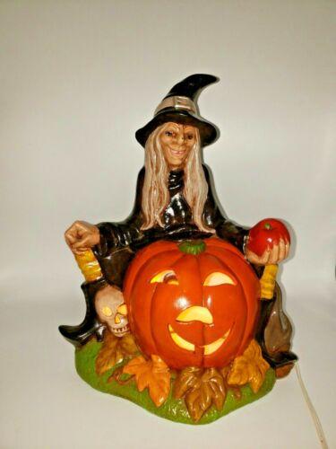 Vintage 1979 Halloween Witch Scioto Hazel Light Up Ceramic Sitter Rare Mold