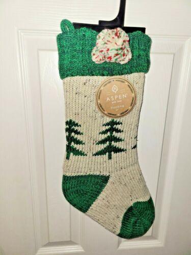 TREE Aspen Knit Christmas Stocking NWT