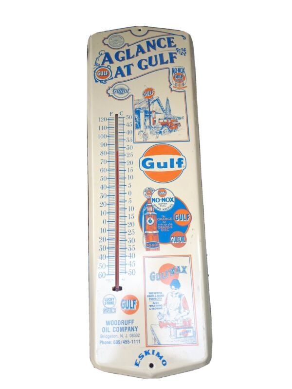 Vintage Gulf Oil Service Station Metal Thermometer.