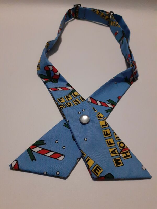 ⭐ Waffle House Christmas Tie Holiday Blue With Candy Canes On It #1