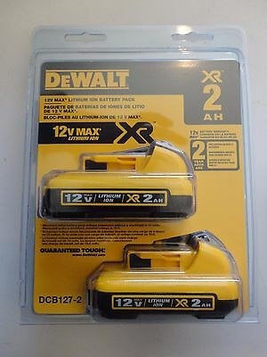 DeWalt DCB127-2 12V  Max Li-Ion  2.0 AH Battery packs New NIP x 2 Total