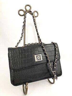 Anne Klein Purse Black Faux Embossed Leather Croc Adjustable Chain Strap ()