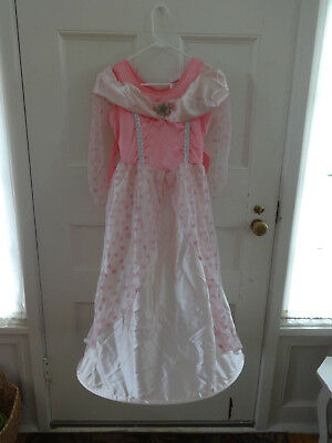 GIRLS PINK STAR PRINCESS DRESS LACE OVERLAY COSTUME RUBIES SZ MED 8 10 HOOP - Girls Renaissance Dresses