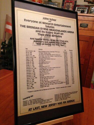 "BIG 11X17 FRAMED RARE ""MEADOWLANDS ARENA"" (1981-1982 CONCERT SCHEDULE) PROMO AD"