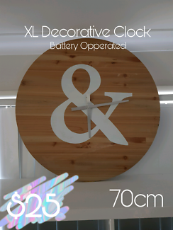 70cm Wooden Clock - MOVING SALE REDLAND BAY