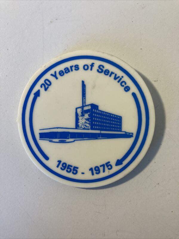 Vintage 20 Years Of Service Bank Button Pin Pinback Commercial Bank And Trust TX