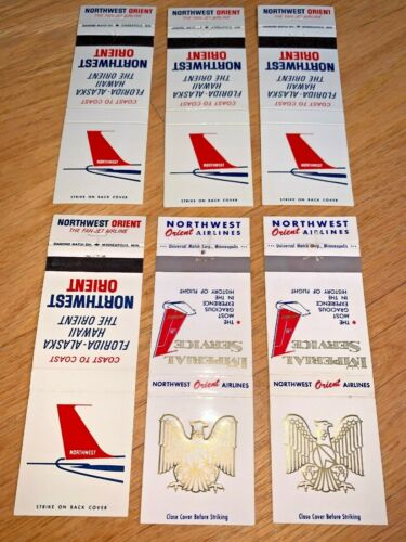 6 Vintage NORTHWEST ORIENT AIRLINES Unused MATCH COVERS - Imperial Service
