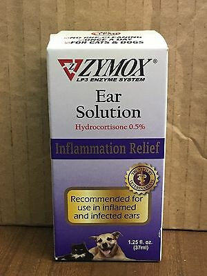 Zymox Enzymatic Ear Solution Hydrocortisone .5% , 1.25oz Dogs Cats