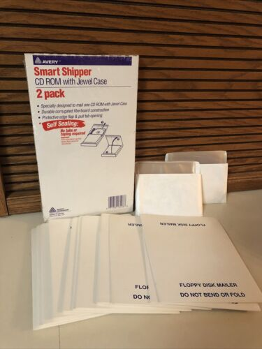 Avery Smart Shipper CD ROM with Jewel Case 2 Pack/12 Floppy Disk Mailers Sleeves