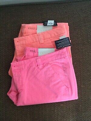 2 Bright Womens Gap Vintage Rolled Crop Khakis Pants Size 12