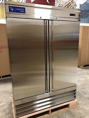 New Coolfront Two 2 Door Upright Commercial Stainless Steel Freezer 47 Cu. New