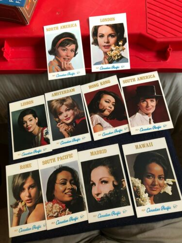 (10) vintage unposted Fly Canadian Pacific model flight attendant postcards