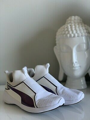 Puma Rebel Mid Swan Athletic Shoes - Women's Size 7- White/Purple-New
