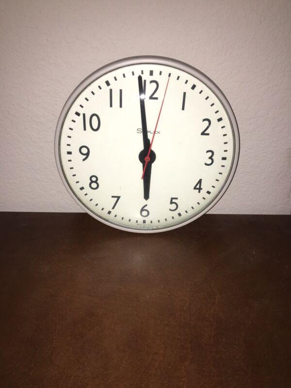 "VINTAGE SIMPLEX Glass Dome Industrial School Wall Clock 13"""