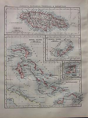 1900 VICTORIAN MAP ~ JAMAICA BAHAMAS TRINIDAD BERMUDAS TRINIDAD