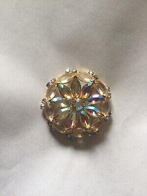 Vintage Iridescent Rhinestone Brooch/Pin Women's Classic Costume Jewelry